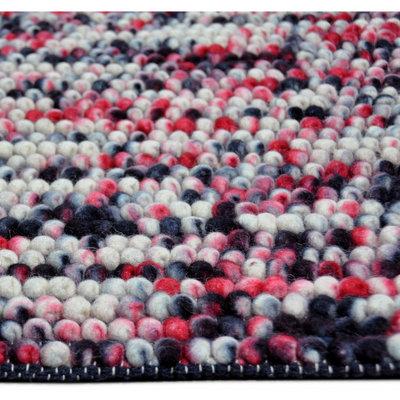 Wol vloerkleed Marnix Zwart Rood