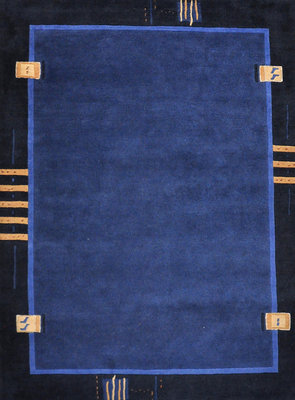 Vloerkleed wol Nepal Plus 92621 Blauw