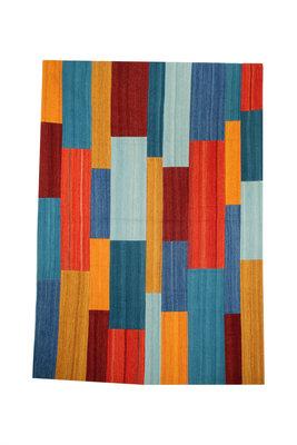 Wollen patchwork vloerkleed Intrio 310 kleur Rood Multi