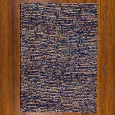 Wol vloerkleed Pixel kleur blauw grijs