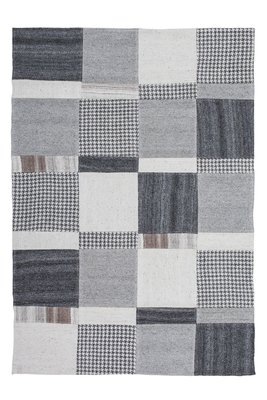 Wollen vloerkleed Como Zwart Wit
