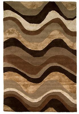 Wollen vloerkleed Sara kleur beige bruin