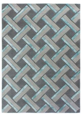 Wollen vloerkleed Pjedro kleur blauw
