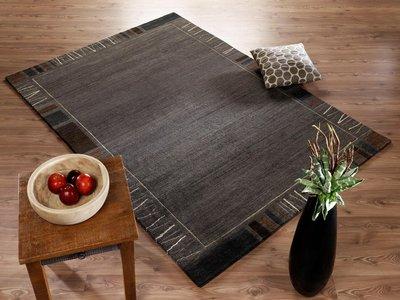 Nepal zuiver scheerwol vloerkleed Silky Plus 407 d.grijs